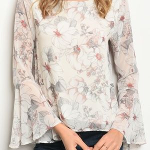 White Floral Bell Sleeve Top